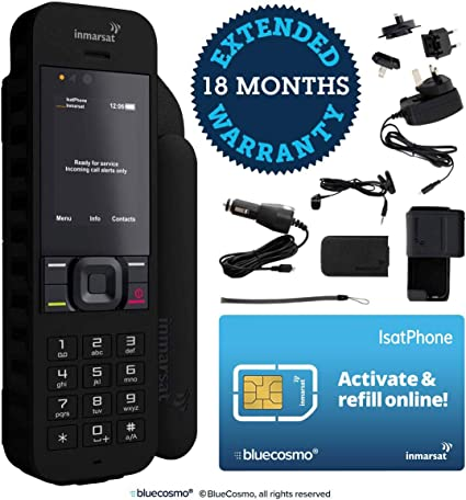 BlueCosmo Inmarsat IsatPhone 2.1 Satellite Phone Kit (SIM Included) - Global Coverage - Voice, SMS, GPS Tracking, Emergency SOS - Prepaid and Monthly ...