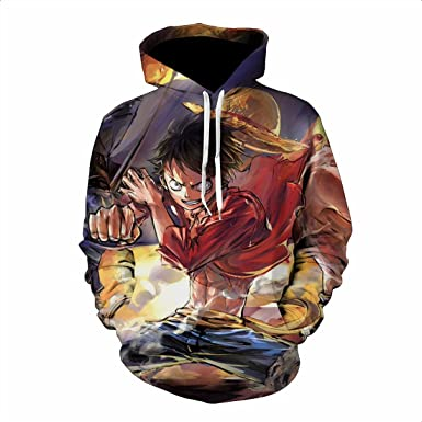 Men/'s One Piece Luffy 3D Print Pullover Anime Hoodies Sweatshirts Jacket Coat