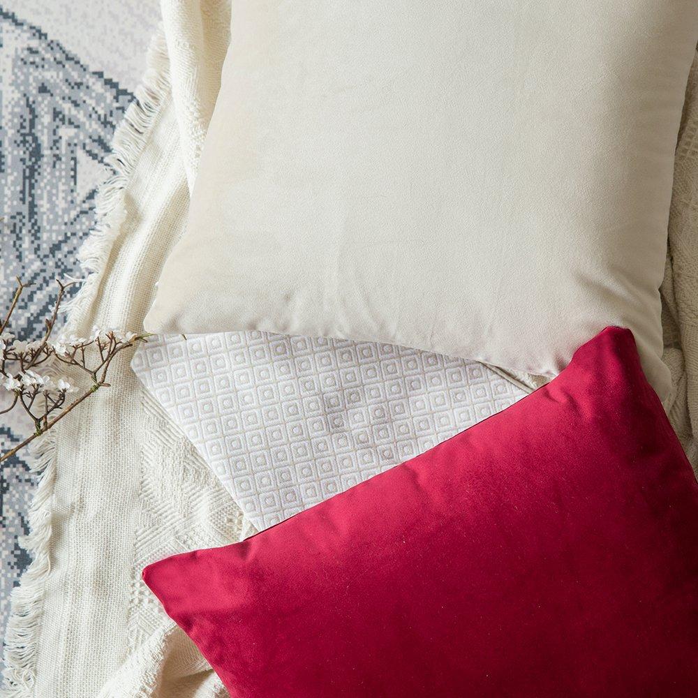 MIULEE Pack de 2, Terciopelo Suave Juego de Mesa de Manta de decoración Cuadrado Fundas de Almohada Funda de cojín para sofá Dormitorio Coche 16 x 16 ...