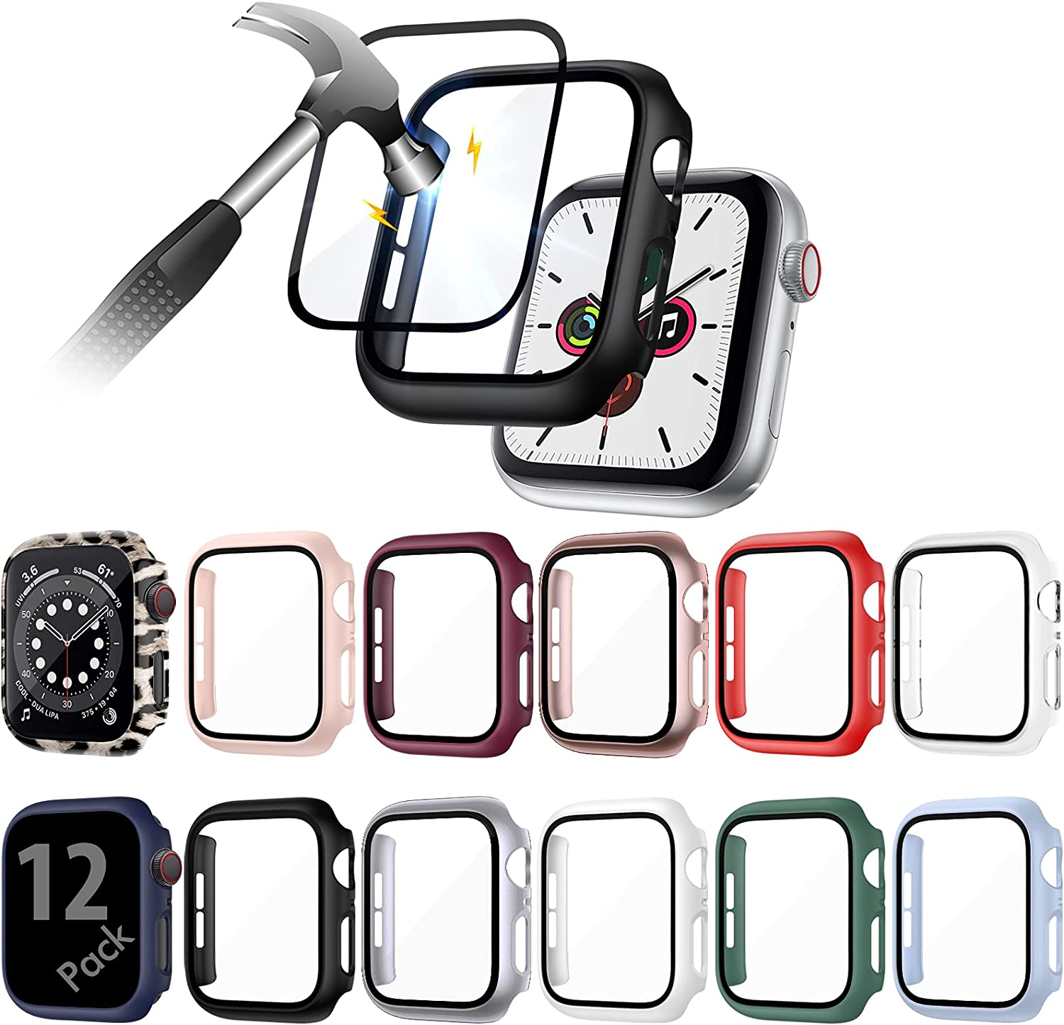 QIBOX 12 Pack Case Compatible with Apple Watch Series 6/5/4/SE 44mm with Tempered Glass Screen Protector, Full Hard PC Ultra-Thin Scratch Resistant Bumper Cover for Watch Accessories Women/Men