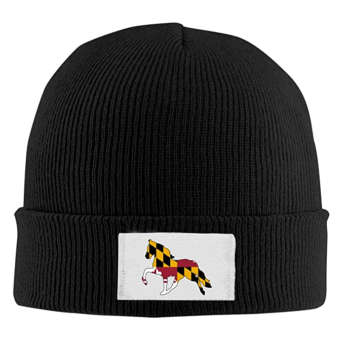09 JGJG Maryland Flag Horse Men Women Knit Hat Winter Warm Knit Beanie Cap e7c46c49609