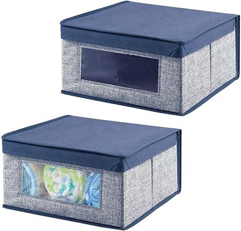 mDesign Juego de 2 Cajas organizadoras de Tela – Caja de almacenaje apilable para ordenar armarios, Zapatos o Ropa – Organizador de armarios con Tapa y ventanilla – Azul: Amazon.es: Hogar