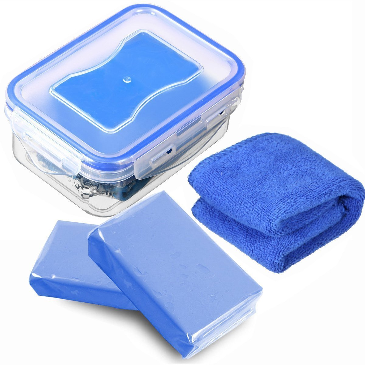 MATCC Car Clay Bar 2Pack x180g Magic Clay Auto Detailing Clay Blue in Sealed Storage Box with Microfiber Cleaning Cloth