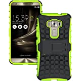 For Asus ZenFone 3 Leo ZE520KL 5.2 inch Case Hybrid Combo Body Armor High Impact Shockproof Case Cover Defender Back Protection with Kickstand (Green)