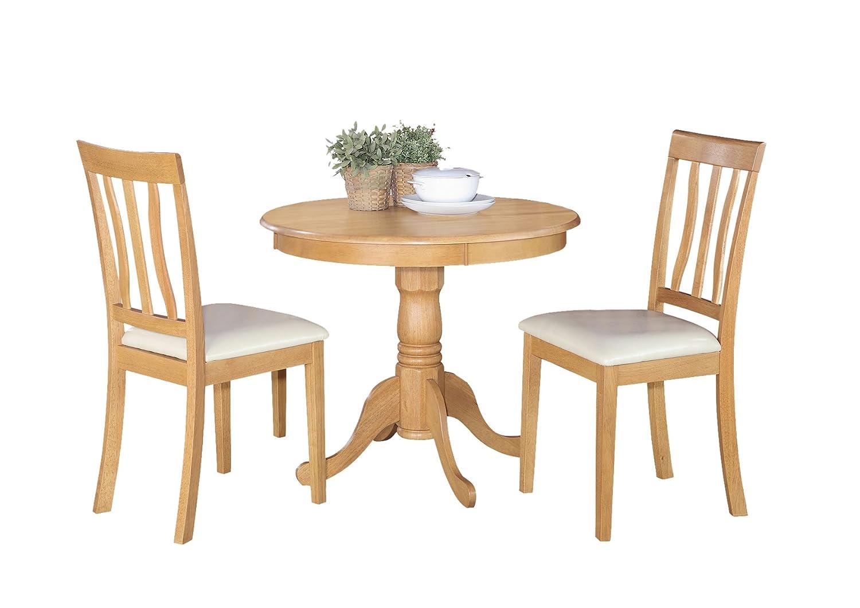 East West Furniture ANTI3-OAK-LC 3-Piece Kitchen Table Set - Oak Finish