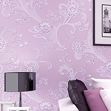 Vliestapete schlafzimmer lila  3D Pastoral Stereo Effekt Beflockung Geprägt Blume Wohnzimmer ...