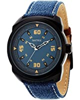 Matrix Explorer Blue Dial & Leather Strap Analog Wrist Watch For Men/Boys - (WCH-150)