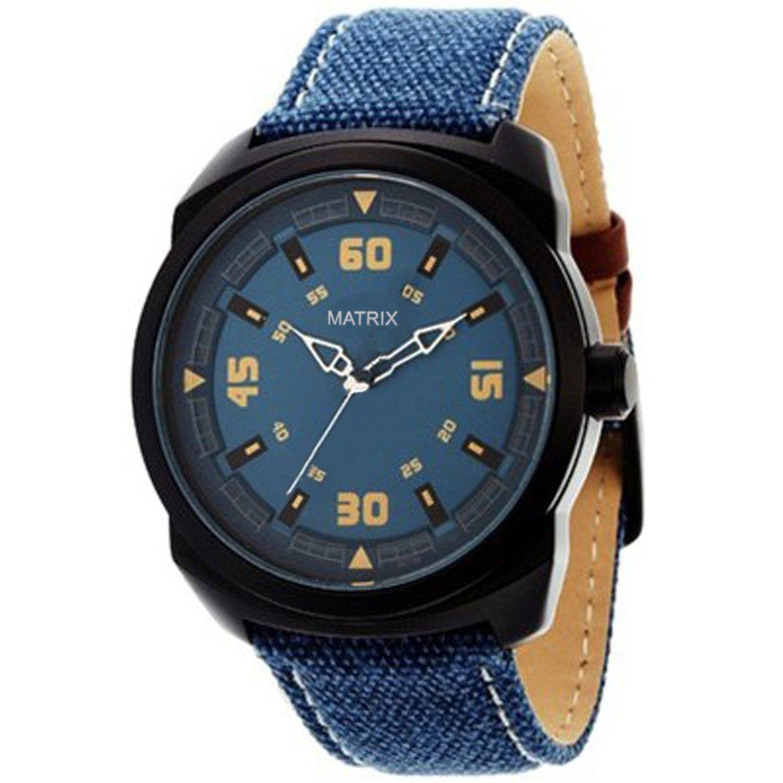 buy matrix explorer blue dial leather strap analog wrist watch for
