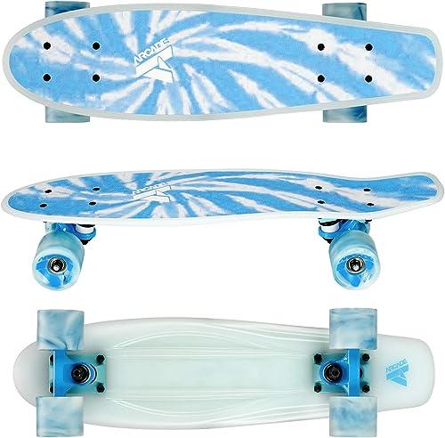 ARCADE Mini Cruiser Skateboard Complete – 22.5 Inch Micro Board – Vintage Skate Board for Beginners, Teens, Kids, Boys Girls