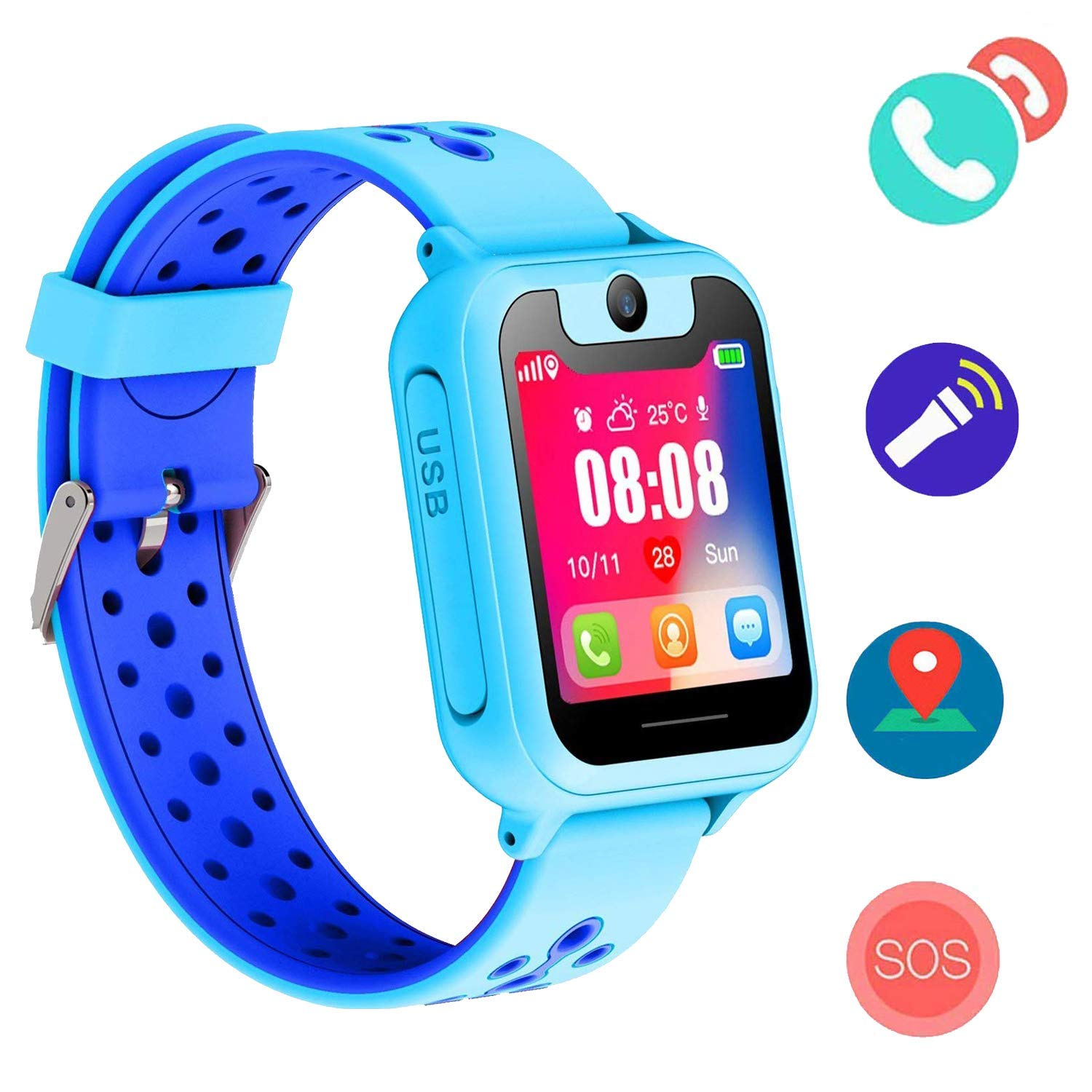 Kids SmartWatch LBS Tracker Watch Phone with SOS Camera 1.44 HD Screen Games for 3-12 Year Old Boys Girls(Blue)