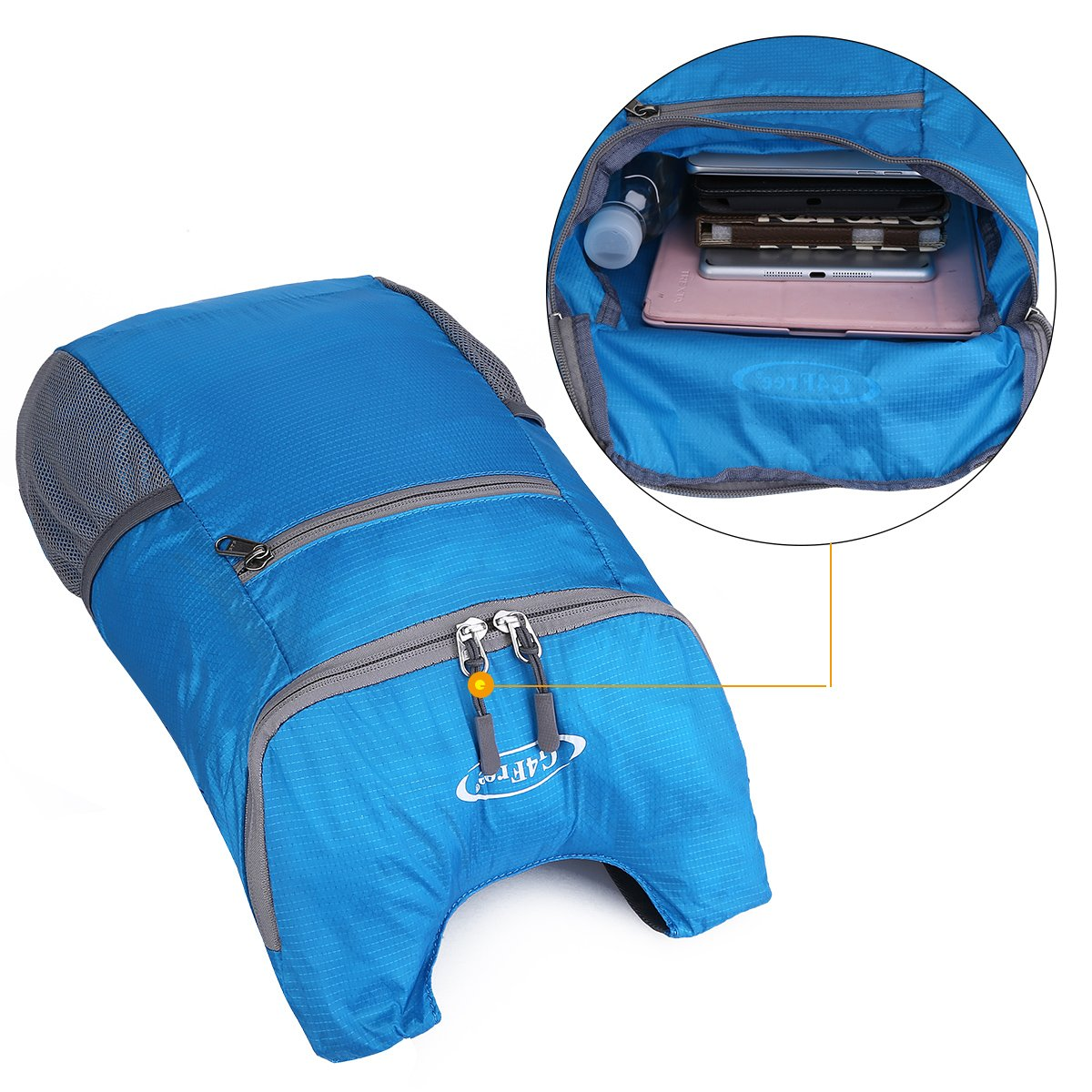 G4Free Lightweight Packable Shoulder Backpack Hiking Daypacks Small Casual Foldable Camping Outdoor Bag for Adults Kids 11L(Blue) by G4Free (Image #7)