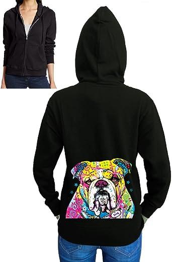 Mini English Bulldogs Mens Full-Zip Up Hoodie Jacket Pullover Sweatshirt
