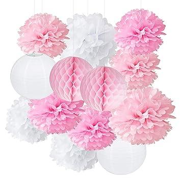 Pompons En Papier De Soie Et Fleurs En Papier A Suspendre
