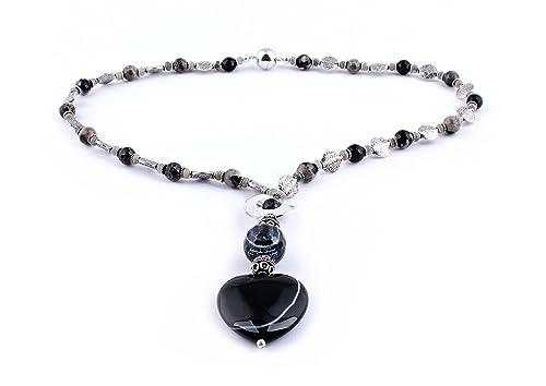 a8286b5d76b8 Diseño moderno de piedras preciosas Collar de piedra con cierre magnético   Amazon.es  Joyería