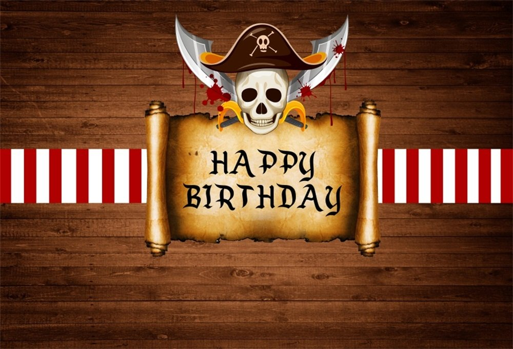 LFEEY 10x8ft Pirate Skull Backdrop Boys Happy Birthday Party Photoshoot Emblem Retro Wood Board Wall Background for Photography Photo Booth Props