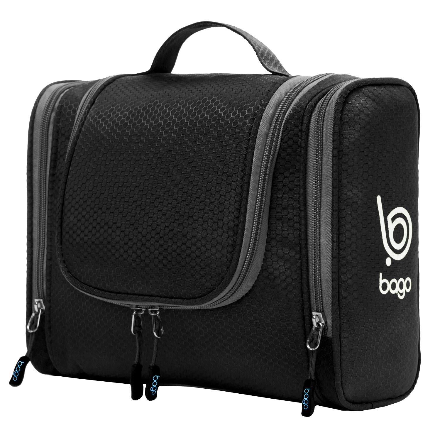 Bago Hanging Toiletry Bag For Women & Men - Travel Bags for Toiletries/Leak Proof/Hanging Hook/Inner Organization to Keep Items From Moving - Pack Like a PRO (Black) by bago