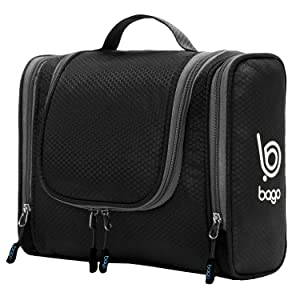 Bago Hanging Toiletry Bag For Women & Men - Leak Proof Travel Bags for Toiletries with Hanging Hook & Inner Organization to Keep Items From Moving - Pack Like a PRO (Black)