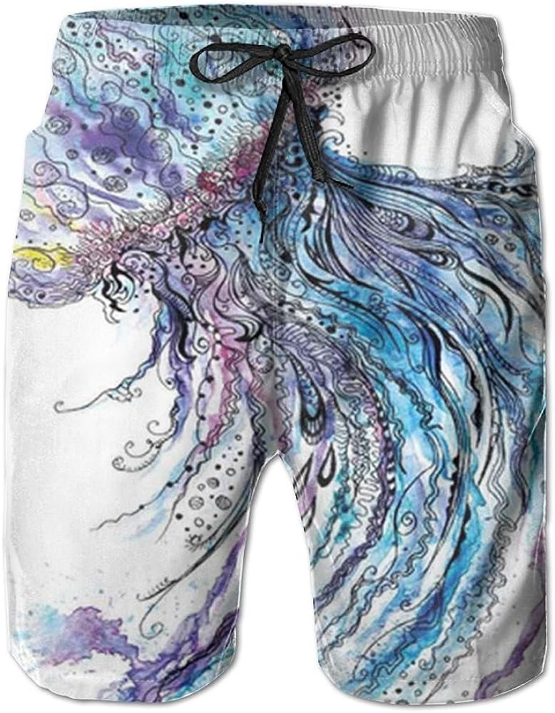 ACFUNEJRQ Mens Aqua Colors Art Ocean Animal Print Sketch Fashion Beach Pants Pocket Drawstring Beach Shorts