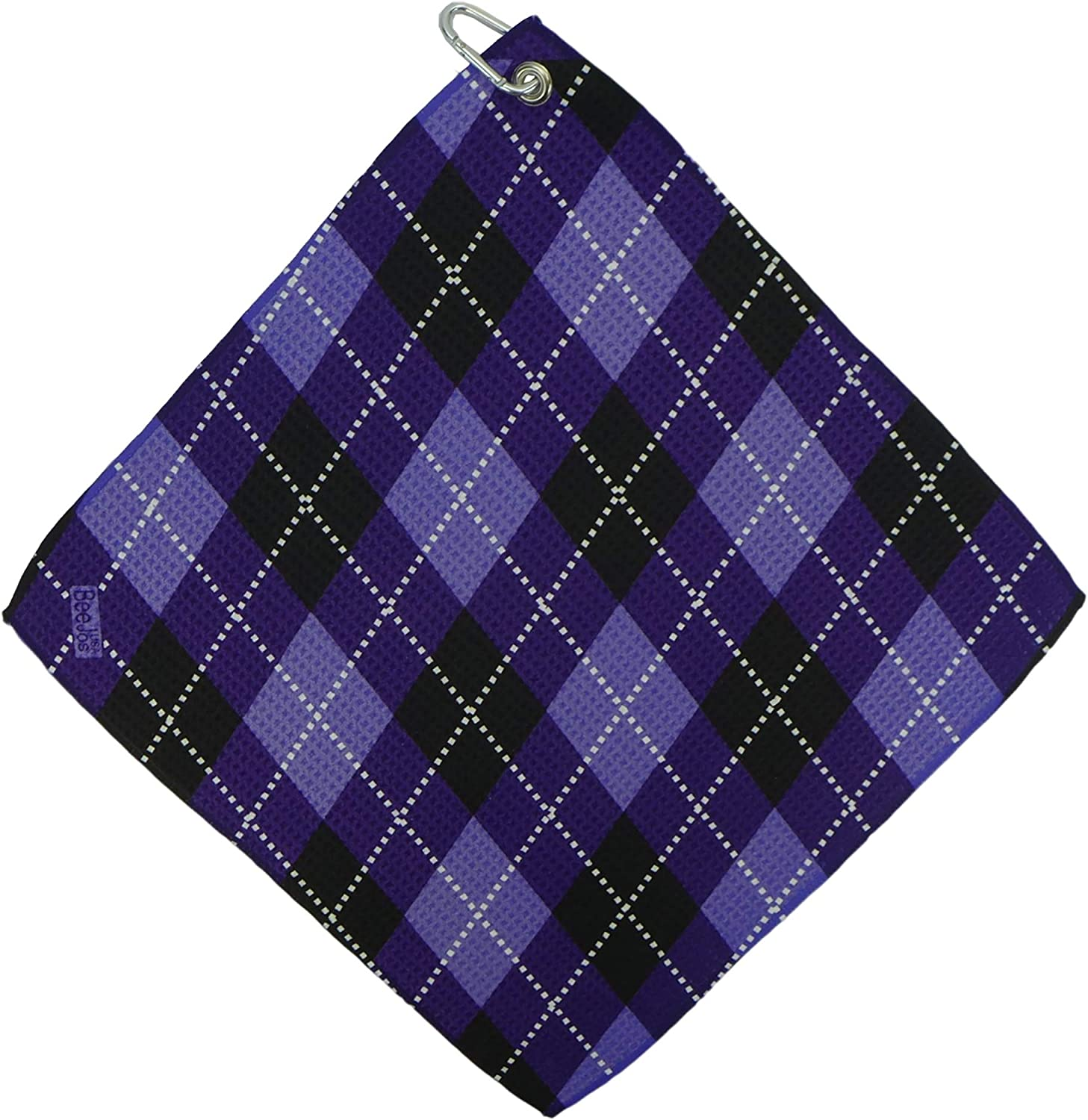 "BeeJo's Women's Purple Argyle Print Microfiber Golf Towel. Heavyweight Waffle Style 16""X 16"" USA."
