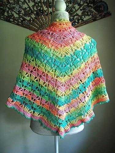 Amazon com: Pastel Brights Wrap Lace Crochet Triangle Shawl
