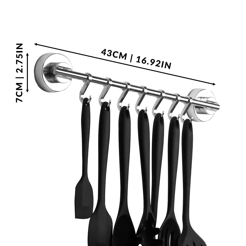 Ganchos Sucker M/&W Rack de pared de succi/ón Toallero Rack de cocina con ventosa y ganchos Soporte para utensilios de fijaci/ón gratis peque/ño