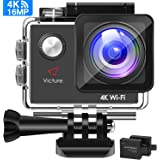 Victure Action Cam 4K Wifi Camera Underwater Camera 16MP Ultra HD Sports Camera Helmet Camera Waterproof for Motorcycle Bike Riding with 2 Improved Batteries and Free Accessories Kits