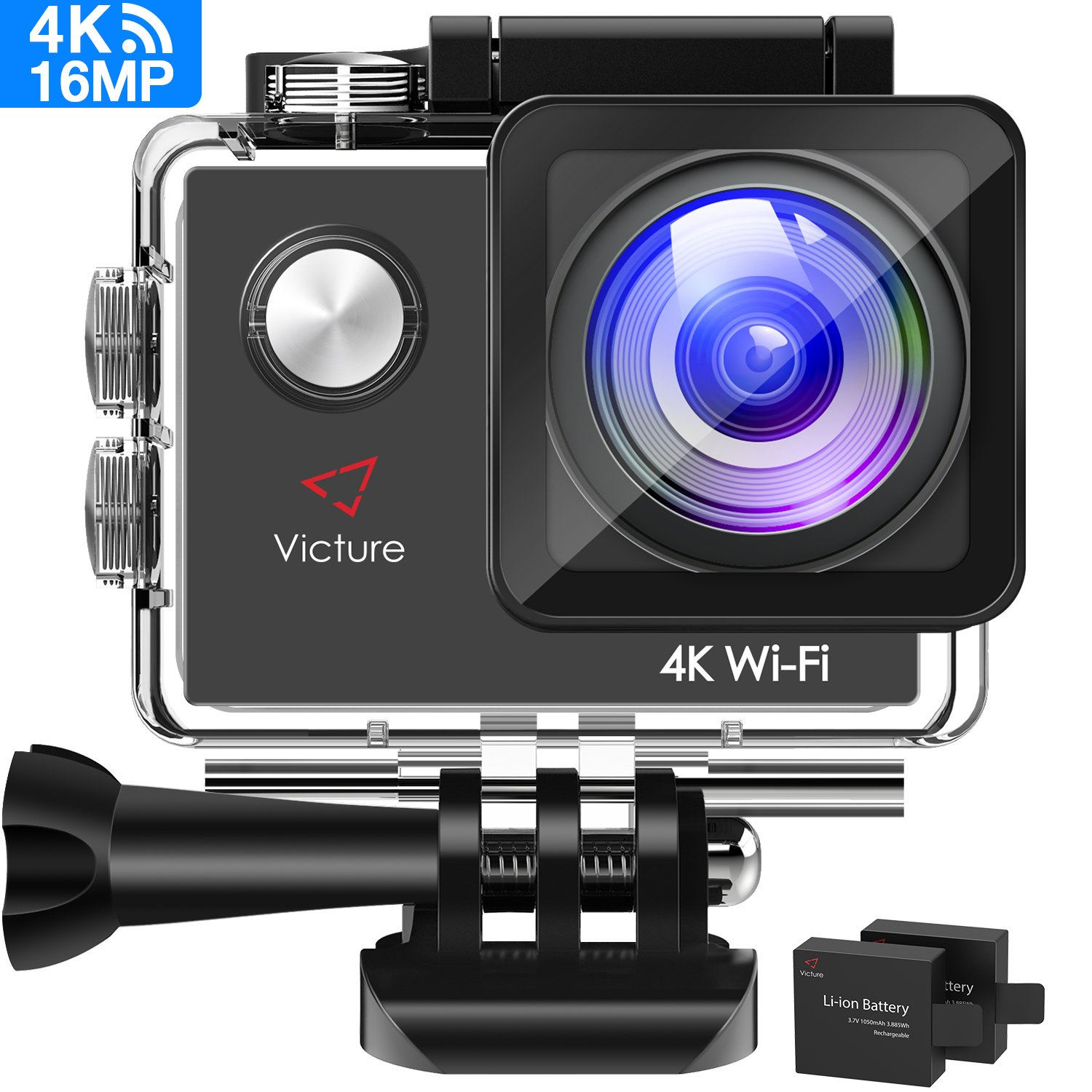 Victure 4K Action Cam Wi-Fi 16MP Ultra FHD Impermeabile 30M