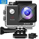 Victure Action Cam 4K WIFI Ultra HD Videocamera Sportiva Impermeabile Videocamera con Timelapse, Slow Motion 170° Grandangolare 2.0 Pollici due 1050mAh Batterie e Kit Accessori (Nero)