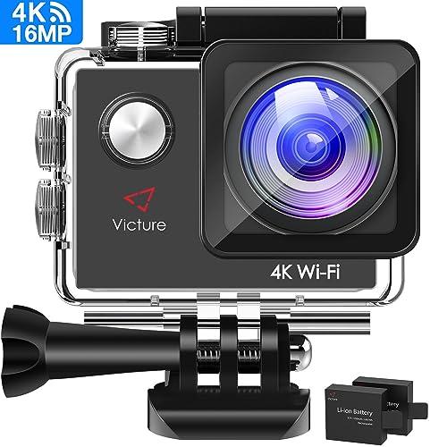 Victure Caméra Sport 4K WiFi 16MP Caméra d'action Etanche 170 Grand Angle 2 Batteries 1050mAh Plusieurs Accessoires Kit