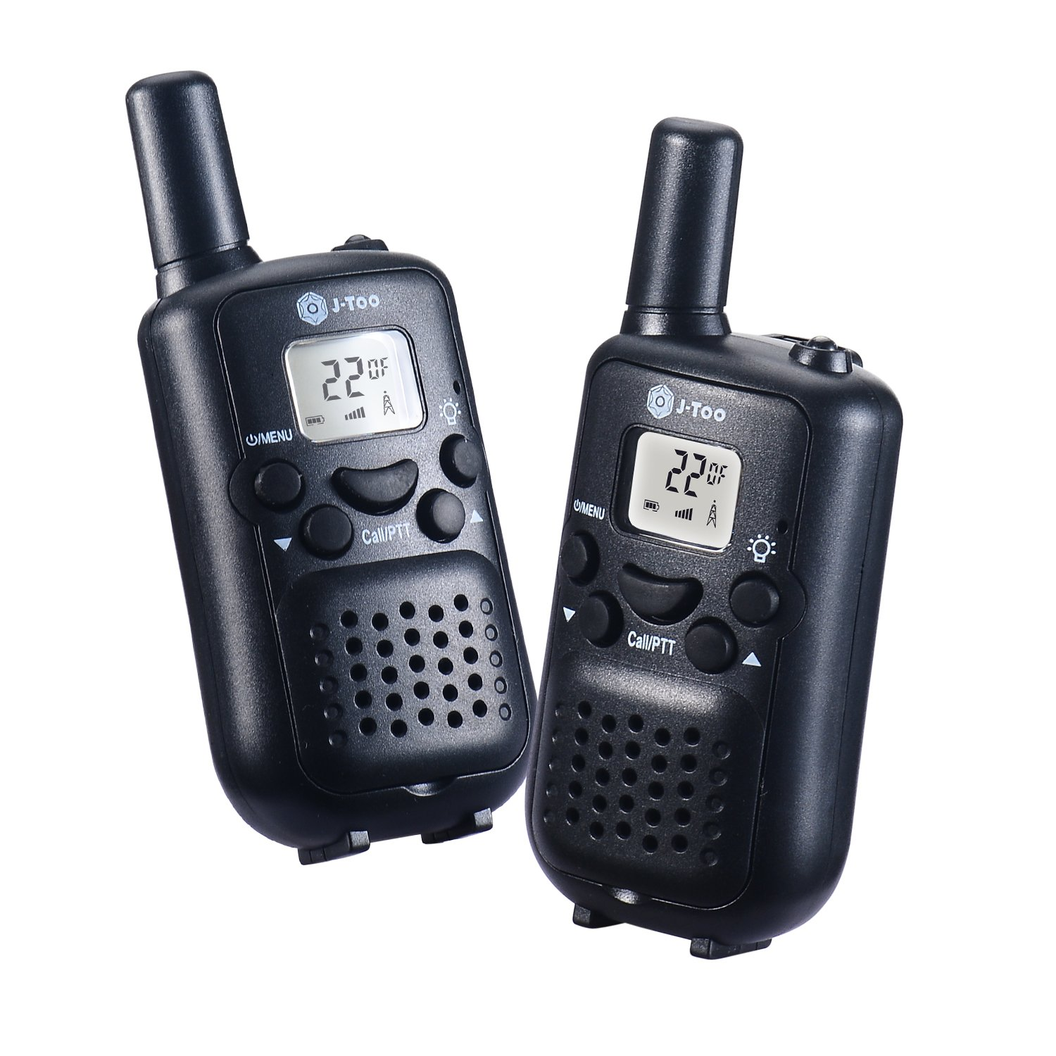 Walkie talkies for kids J-TOO Easy to use 22 Channel FRS/GMRS Two Way Radio 5 Mile Rang 2 Pack (Black)