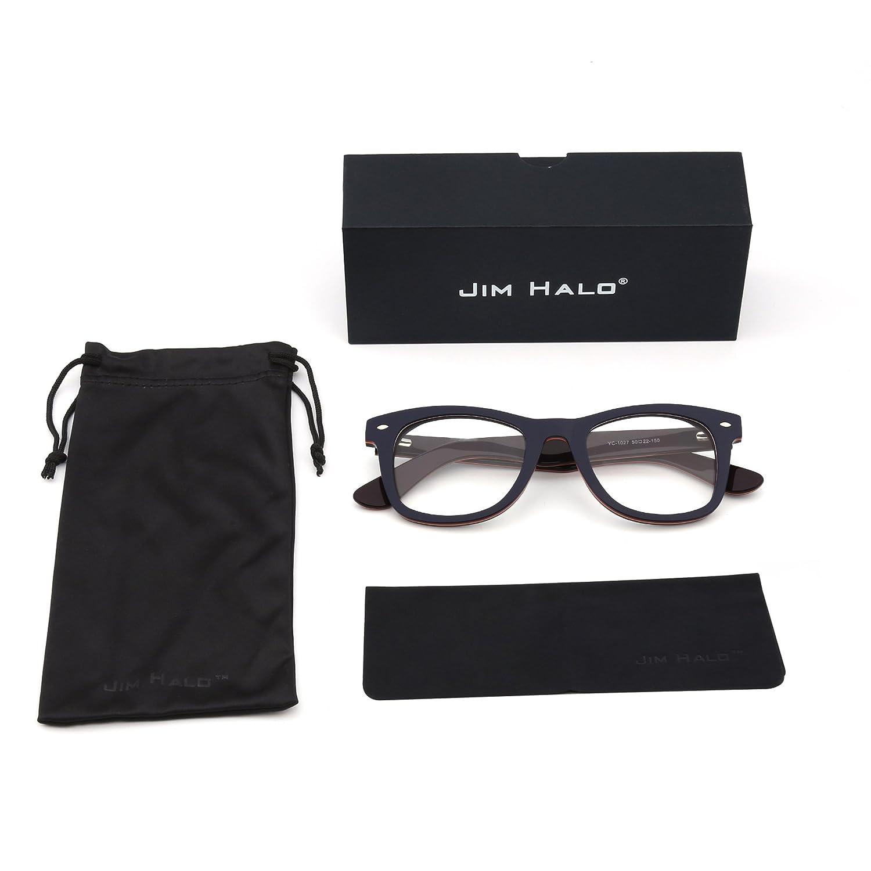 89ead9613d JIM HALO Gafas RX Clásico Marco de Bisagras de Resorte Lente Claro Cuadrado  Anteojos Hombre Mujer(Azul Púrpura/Claro): Amazon.es: Ropa y accesorios