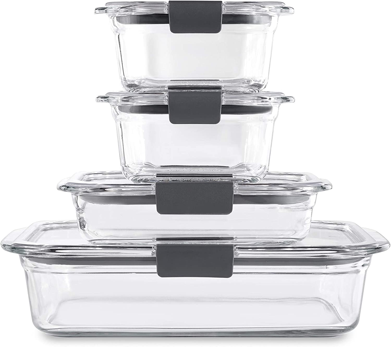 Rubbermaid Brilliance Glass Storage Set of 4 Food Containers with Lids (8 Pieces Total), 4-Pack, Clear