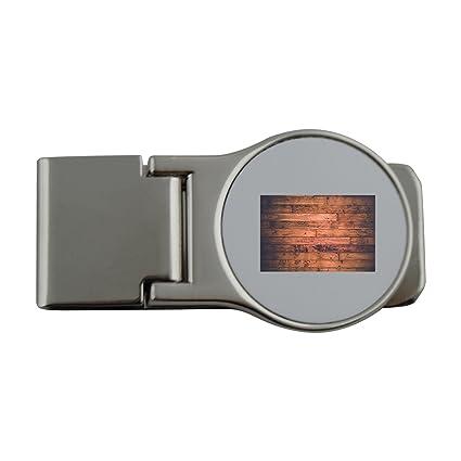 Metal dinero clip con mango de madera, tablas, madera, fondo, pared