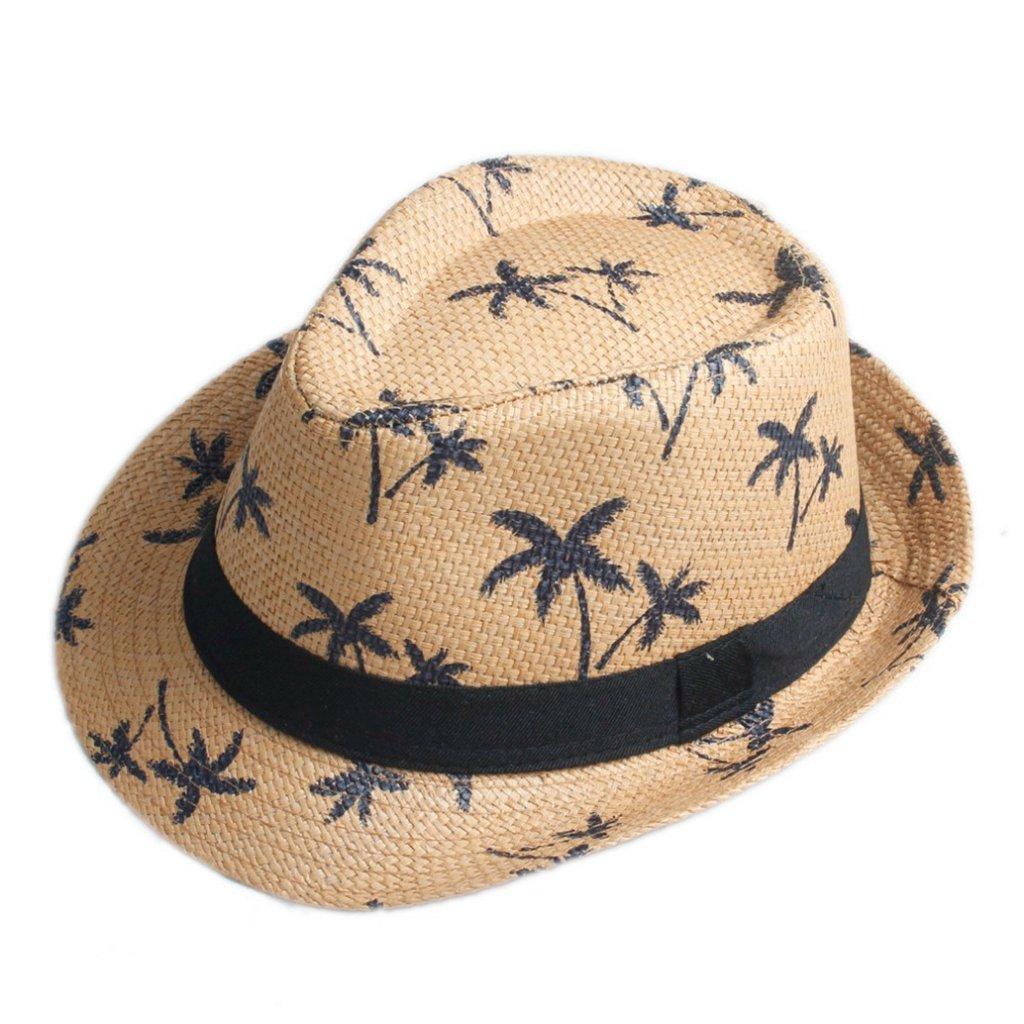 AOBRITON Straw Fedora Hat Jazz Summer Panama Beach Hat Hawaii Style for Tropical Seaside