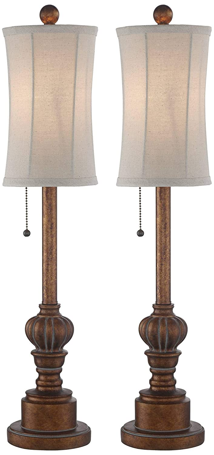 Bertie Traditional Buffet Table Lamps Set of 2 Warm Brown Wood Tone Tall Fabric Drum Shade for Dining Room - Regency Hill