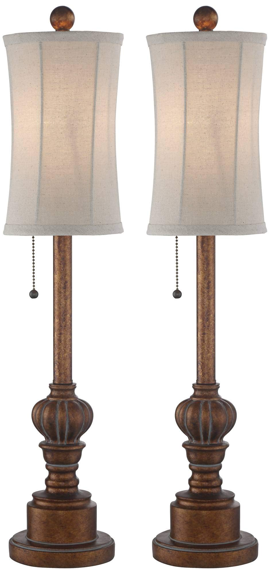 Bertie Traditional Buffet Table Lamps Set of 2 Warm Brown Wood Tone Tall Fabric Drum Shade for Dining Room - Regency Hill by Regency Hill