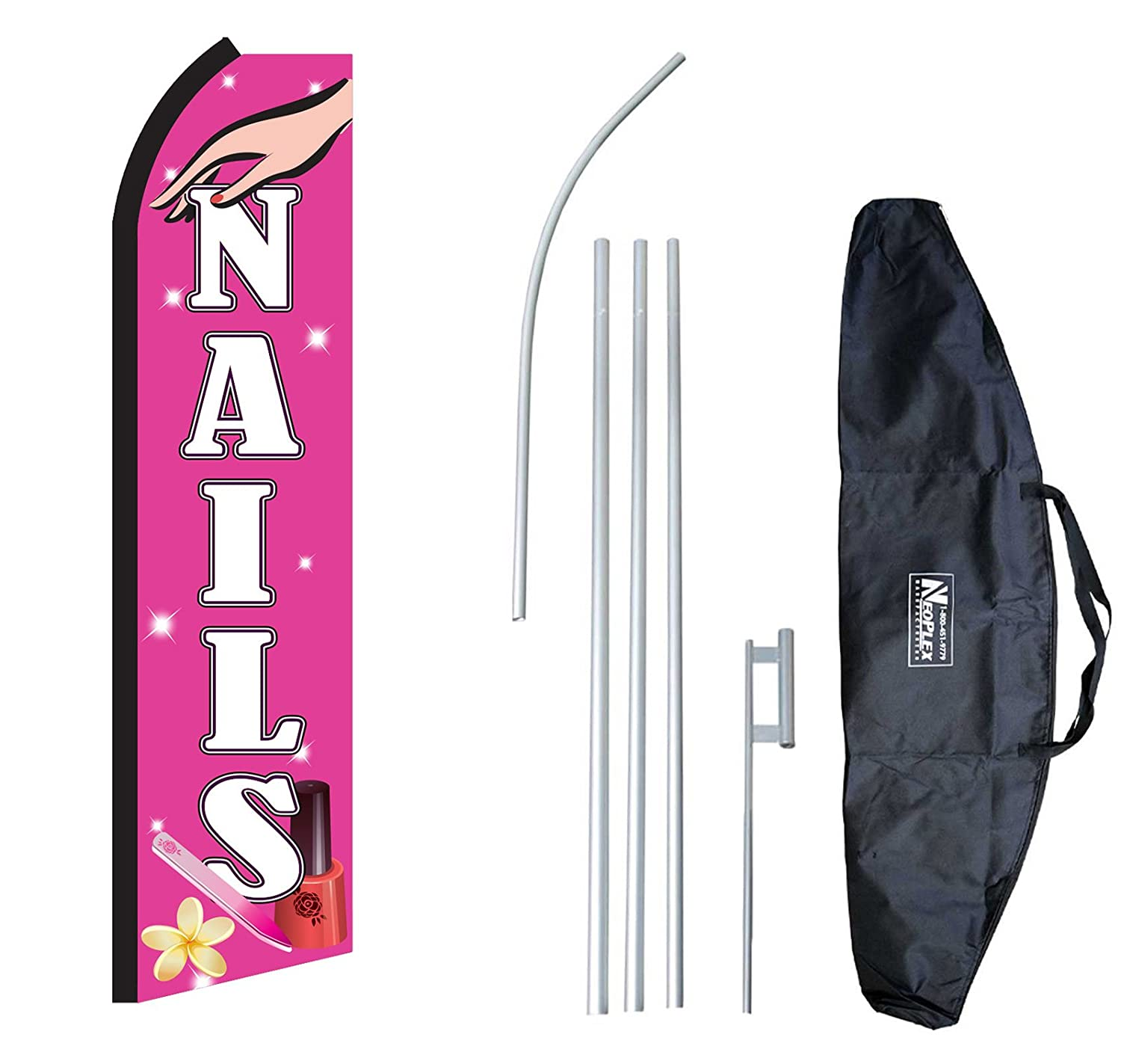 """Nails"" 12-foot Swooper Feather Flag and Case Complete Set...includes 12-foot Flag, 15-foot Pole, Ground Spike, and Carrying/Storage Case"