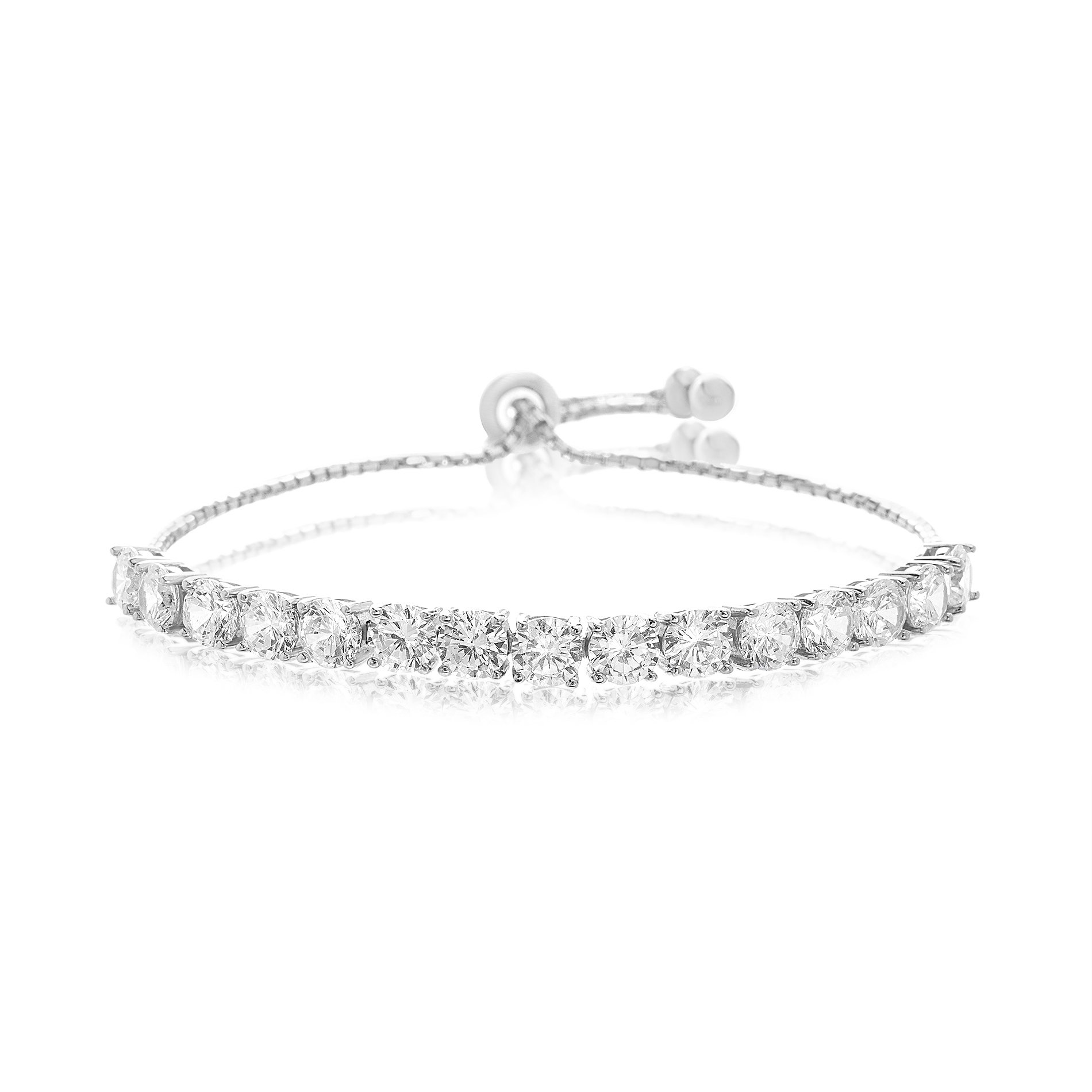 Lesa Michele Lab Created Cubic Zirconia Tennis Bolo Bracelet in Sterling Silver