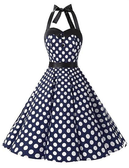 Dressystar Vintage Polka Dot Retro Cocktail Prom Dresses 50s 60s Rockabilly Bandage Navy White ...