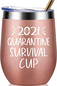 2021 Quarantine Survival Cup - Gifts for Women, Men, Friend, Sister, Mom, Grandma, Aunt, Daughter, Coworker - 30th, 40th, 50th, 60th Birthday Gift Ideas, Insulated Wine Tumbler, 12 Ounce Rose Gold