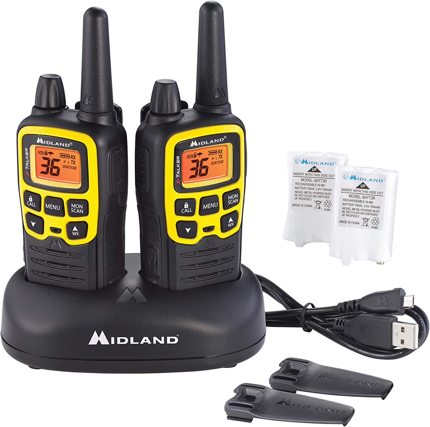 Midland - X-TALKER T61VP3, 36 Channel FRS Two-Way Radio - Up to 32 Mile Range Walkie Talkie, 121 Privacy Codes, & NOAA Weather Scan + Alert (Pair Pack) (Black/Yellow)