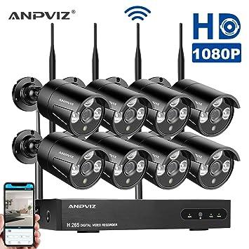Sistema de cámaras de Seguridad,1080P WiFi Cámara Wireless Sistema de Seguridad Kit,1080P
