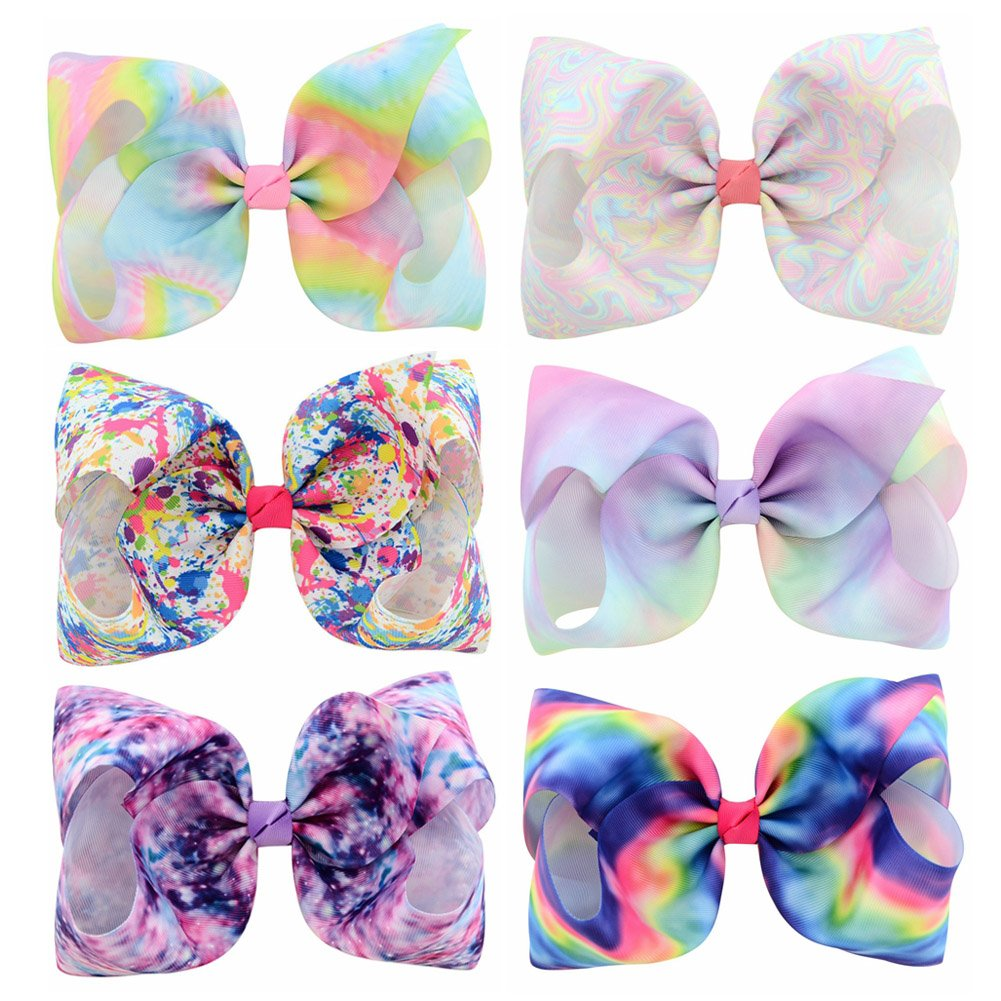 8 Inch Unicorn Bows 8 inch Girl Hairpin large Bow Hair Clip Gift for Baby