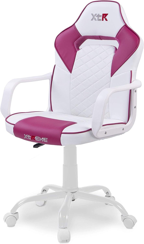 Adec - DRW, Silla de Escritorio, Estudio o Despacho, Sillon Gaming Acabado en Color Negro y Camuflaje, Medidas: 60 cm (Ancho) x 60 cm (Fondo) x 98-108 cm (Alto) Blanco - Rosa