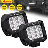 LED Pods, Aaiwa 2Pcs 4Inch 27W LED Light Bar Triple Row Spot Fog Light Beam Cube Work Light IP68 Waterproof Driving Light for Off road, UTV, Truck, ATV, SUV, Jeep, Boat,5 Years Warranty