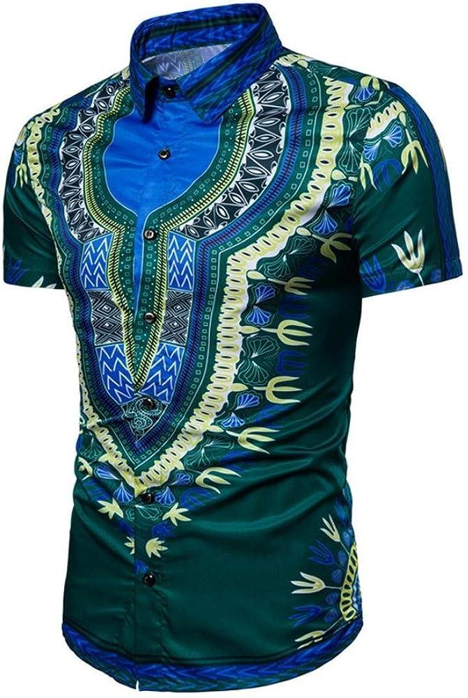 FAMILIZO Camisas Hombre Manga Corta Africano Floral Estilo Blusa Mens T Shirts Polos Manga Corta Hombre Polos Slim Fit Hombre Polos Hombre Manga Corta T Shirt Men Camiseta (M, Verde): Amazon.es: Ropa