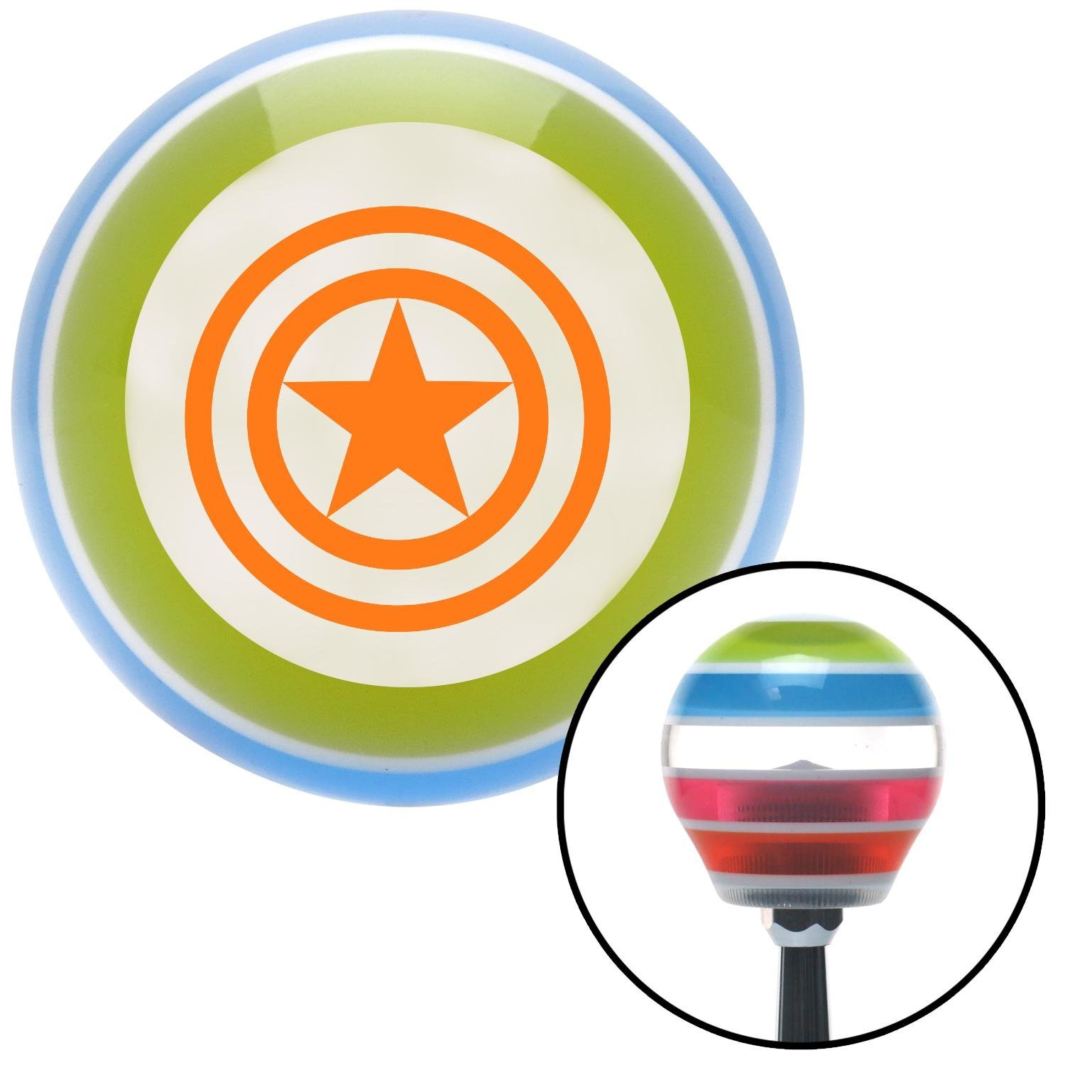 Orange Star Inside Circles American Shifter 134849 Stripe Shift Knob with M16 x 1.5 Insert