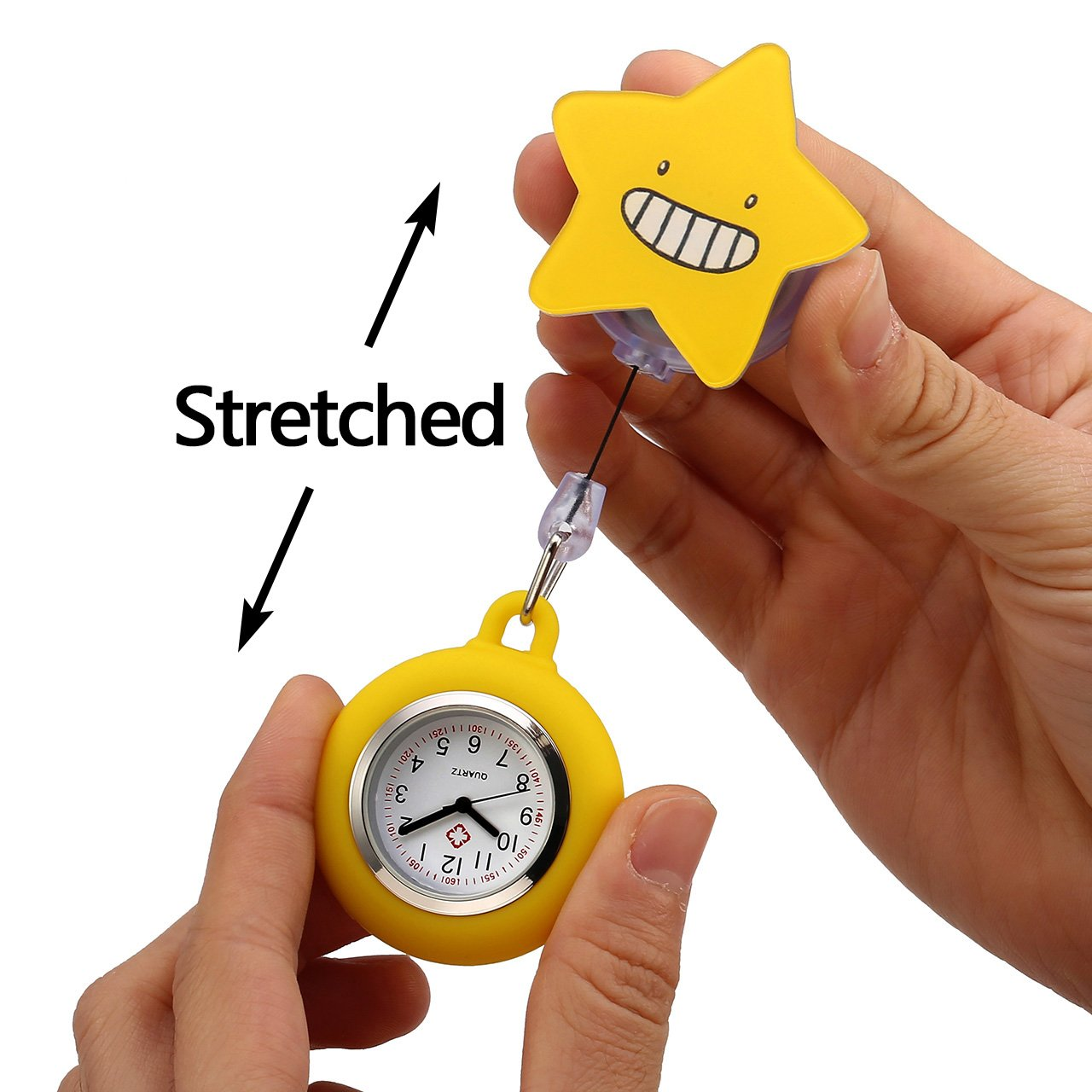 Top Plaza 3 Pcs Girls' Kid's Cute Lovely Cartoon Pattern Silicone Clip on Fob Brooch Hanging Easy Pull Clasp Stretch Analog Quartz Pocket Nurse Watches #2 by Top Plaza (Image #2)