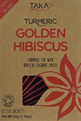 Taka Turmeric Organic Golden Hibiscus Tea, Pack of 15 Teabags, Pack of 4