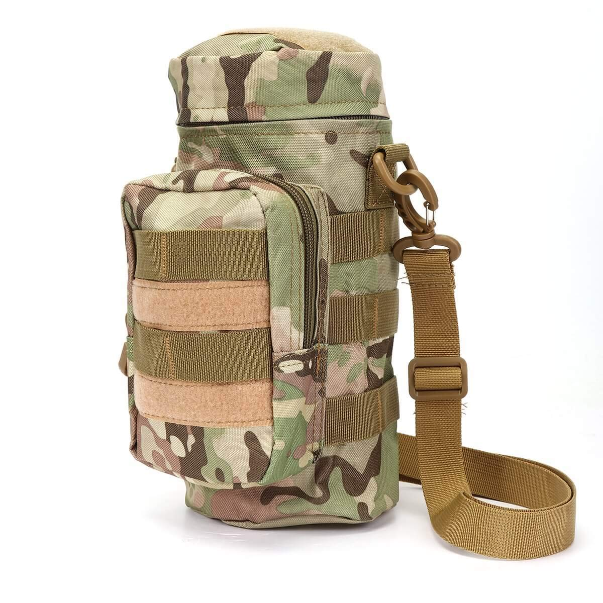 Sports Water Bottles Pouch Bag Tactical Molle Water Bottle Pouch Military Drawstring Water Bottle Pouch Holder Mesh Water Bottle Carrier Attachment Bottle with Pouch ACU Camouflage